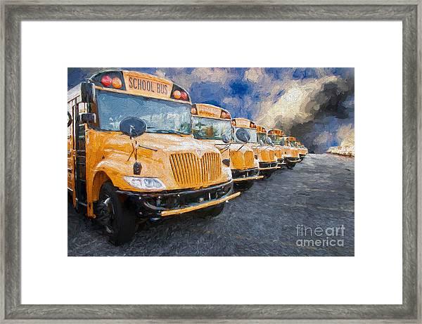 School Bus Lot Painterly Framed Print