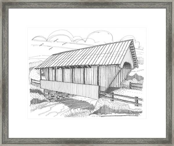 School House Covered Bridge Framed Print