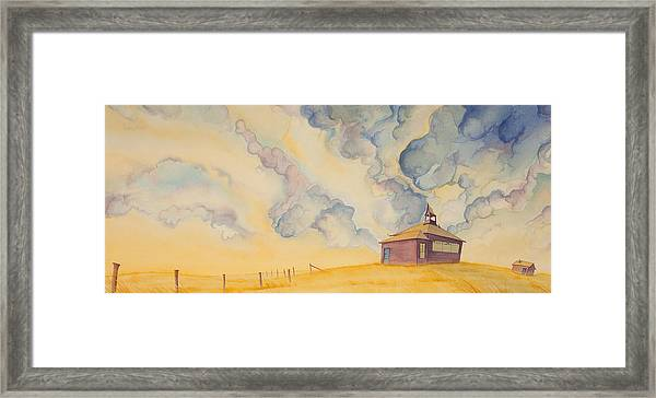 Framed Print featuring the painting School On The Hill by Scott Kirby