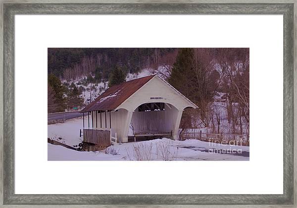 Schoolhouse Covered Bridge. Framed Print