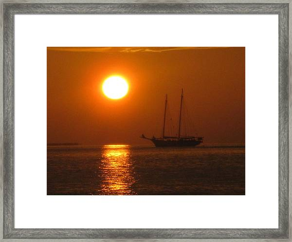 Framed Print featuring the photograph Schooner Sunset by Barbara Von Pagel
