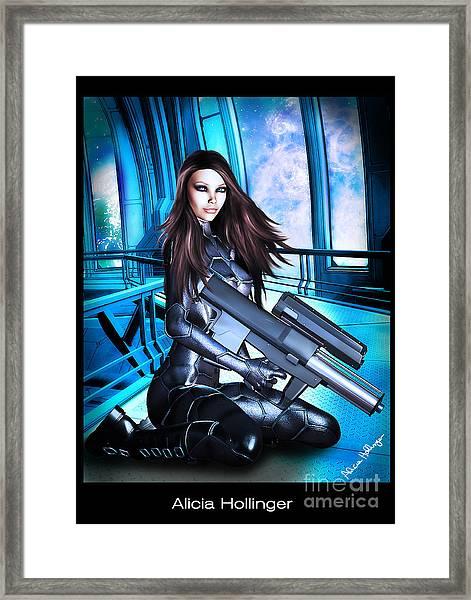 Sci-fi Brunette With A Big Gun Framed Print