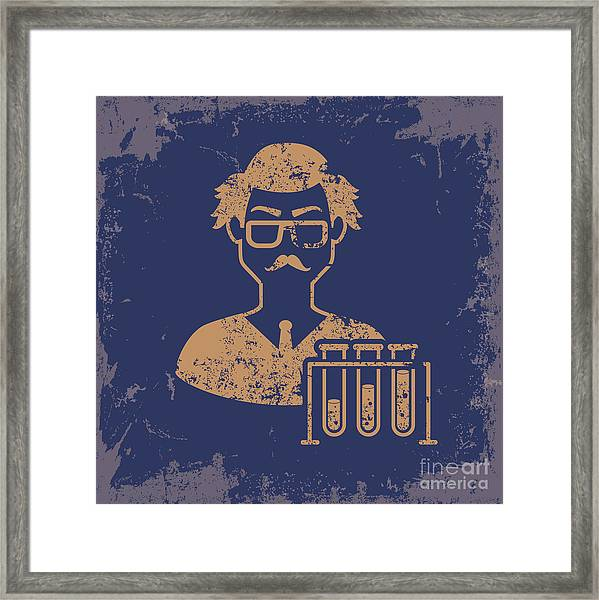 Scientist Design On Old Paper Framed Print