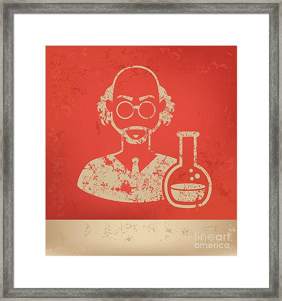 Scientist On Red Background,poster Framed Print