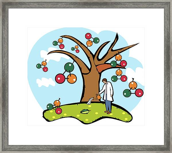 Scientist Watering An Atomic Structure Tree Framed Print by Fanatic Studio / Science Photo Library