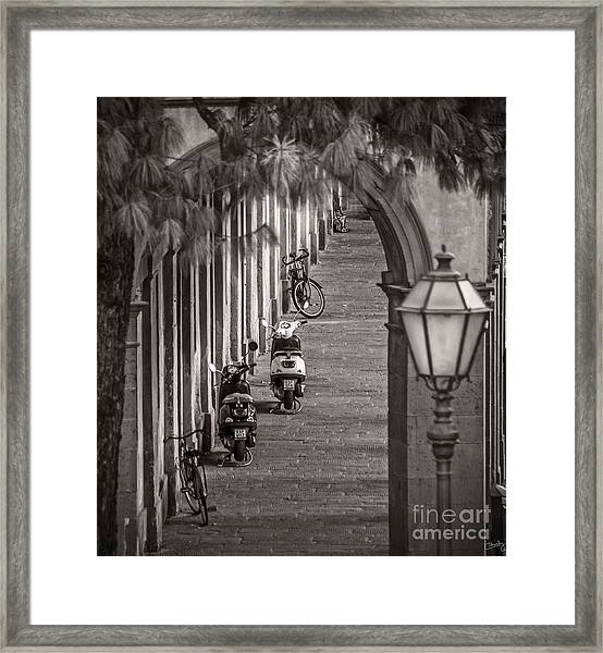Scooters And Bikes Framed Print