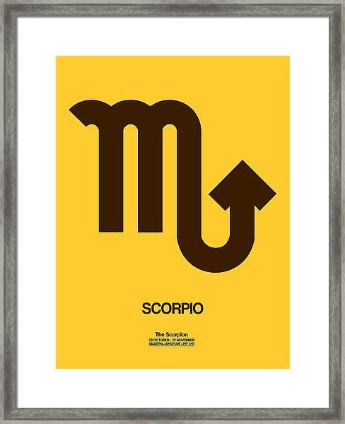 Scorpio Zodiac Sign Brown Framed Print