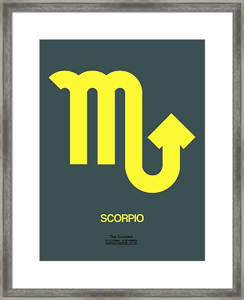 Scorpio Zodiac Sign Yellow Framed Print