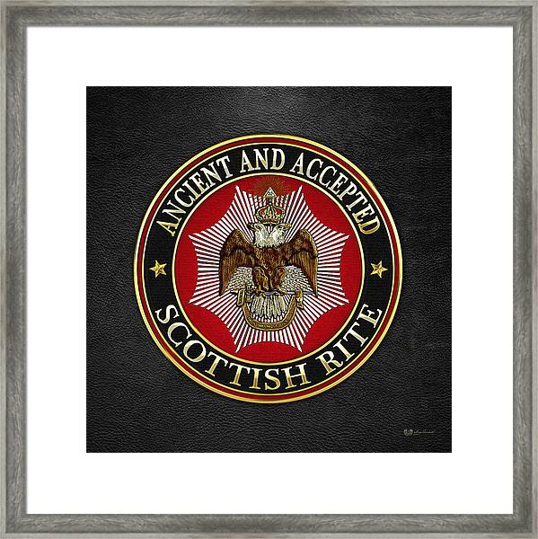 Scottish Rite Double-headed Eagle On Black Leather Framed Print