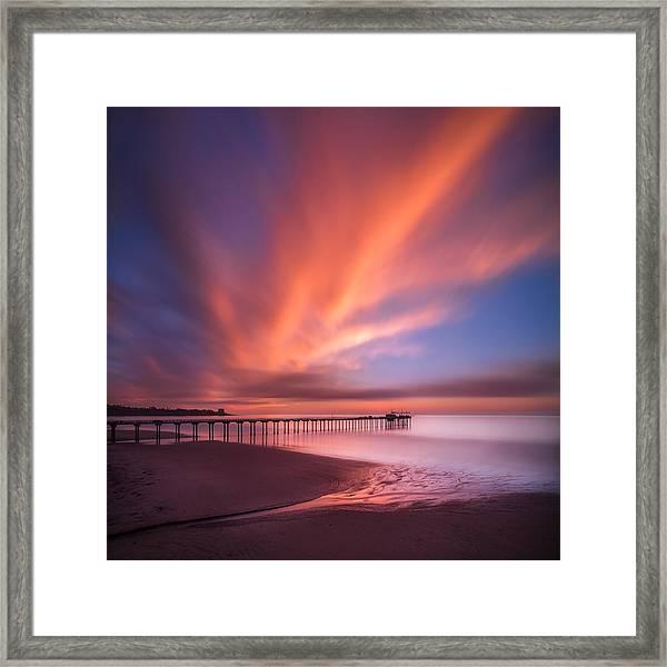 Scripps Pier Sunset - Square Framed Print