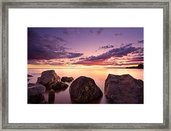 Sea At Sunset The Sky Is In Beautiful Dramatic Color Framed Print