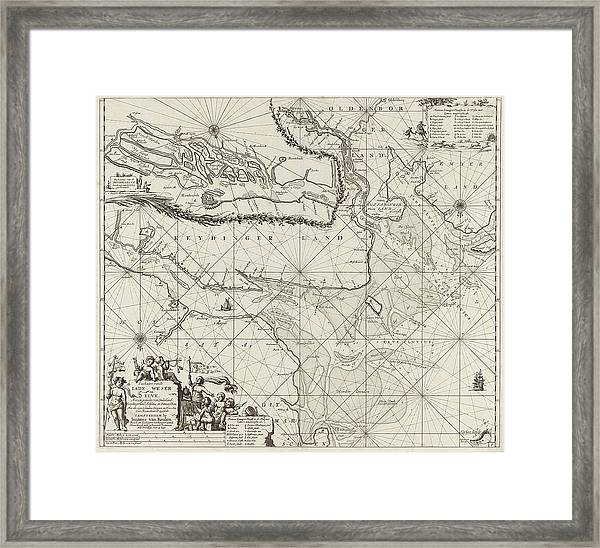Sea Chart Of Part Of The Elbe, The Weser And Jadebusen Framed Print by Jan Luyken And Johannes Van Keulen I
