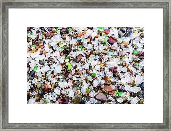 Framed Print featuring the photograph Sea Glass Treasures At Glass Beach by Priya Ghose