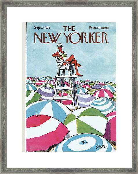 Sea Of Umbrellas Framed Print