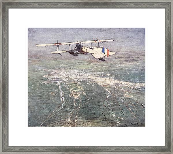 Sea-plane Flying Over Damascus Framed Print