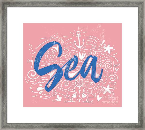 Sea Print T-shirts For Summer. Vector Framed Print