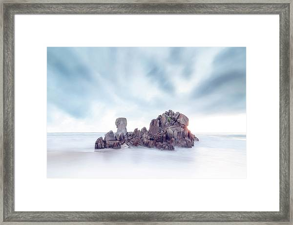 Sea Scape Rock In The Middle Of The Sea Framed Print