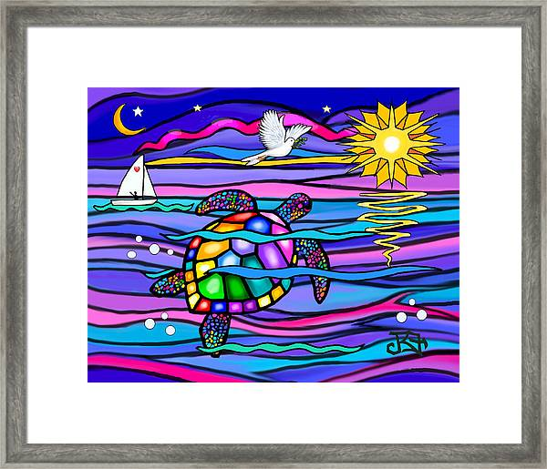 Sea Turle In Blue And Pink Framed Print
