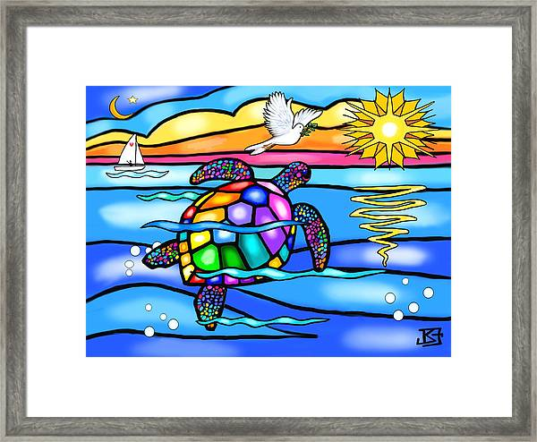 Sea Turtle In Turquoise And Blue Framed Print
