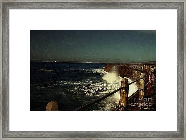 Sea Wall At Night Framed Print