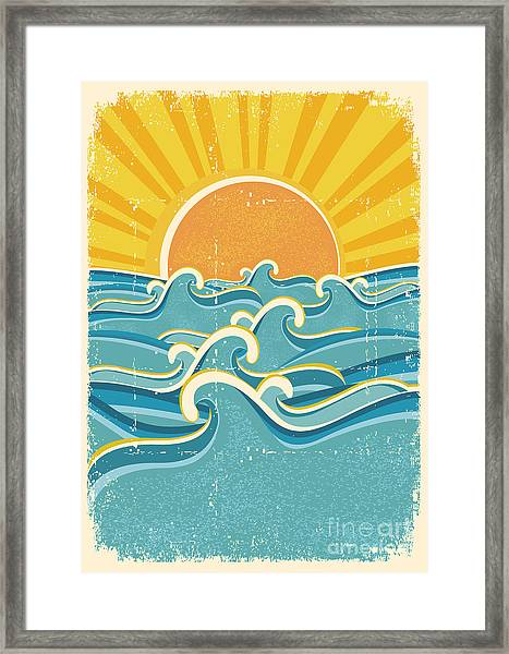 Sea Waves And Yellow Sun On Old Paper Framed Print