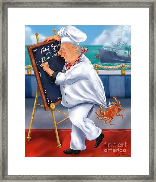 Seafood Chefs-todays Special Framed Print