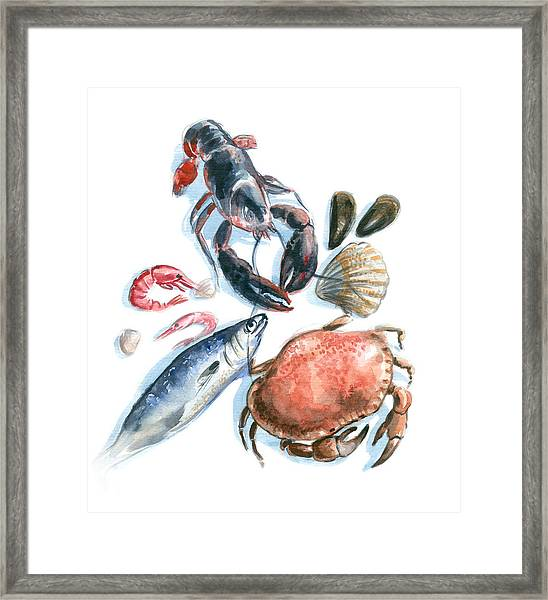 Seafood Watercolor Framed Print by Axllll