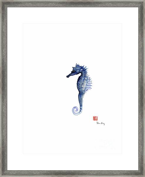 Seahorse Sea Horse Blue Fish Water Colors Collection Fishes Watercolor Painting Framed Print