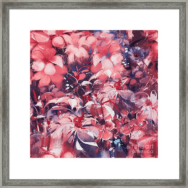Seamless Abstract Flowers,oil Painting Framed Print by Tithi Luadthong