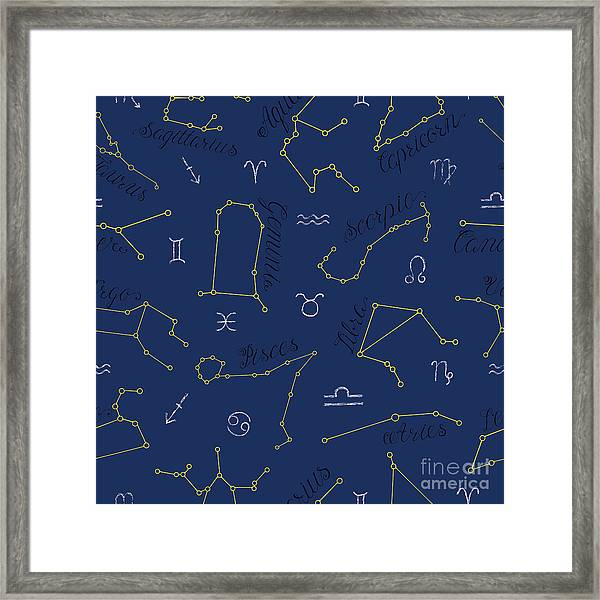 Seamless Background With Zodiac Framed Print