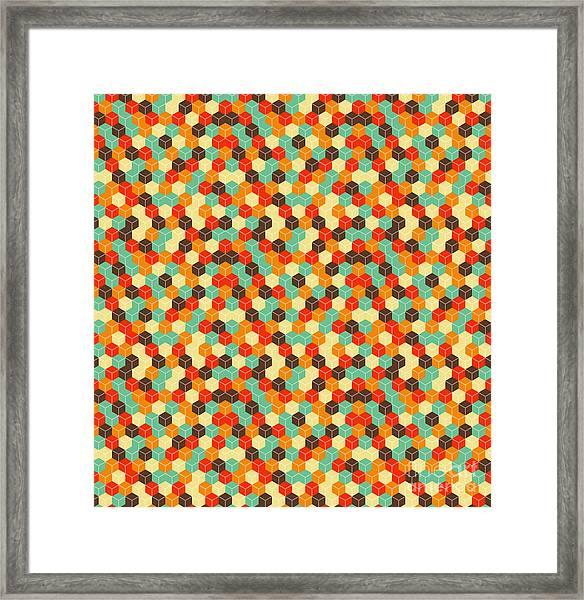 Seamless Hexagonal - Cube, Cubic Framed Print by Ravennka