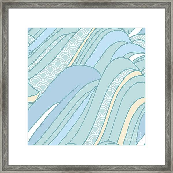 Seamless Japanese Pattern In Pastel Framed Print by Hasselnott