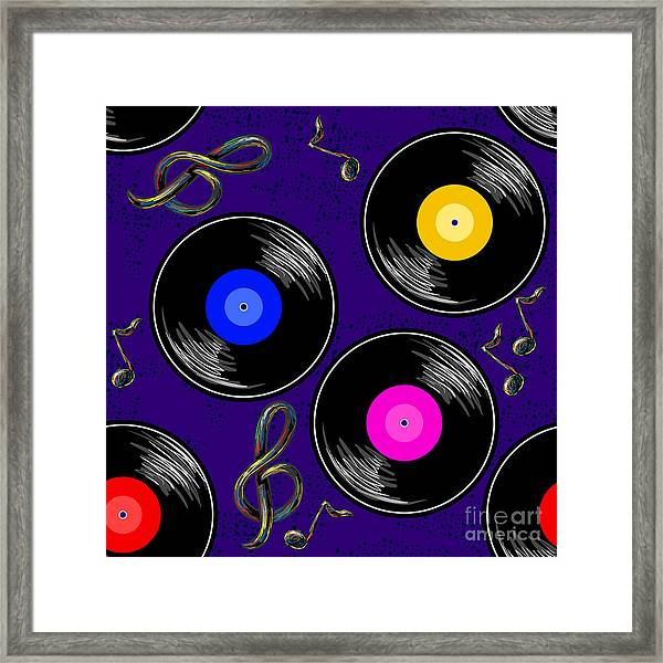 Seamless Music Pattern With Vinyl Framed Print