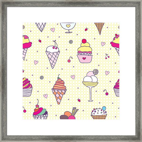 Seamless Pattern Delicious Ice Cream Framed Print