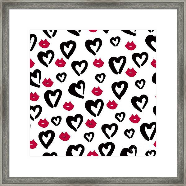 Seamless Pattern Of Black Hearts And Framed Print