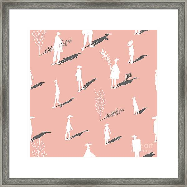 Seamless Pattern Of Trees And People Framed Print