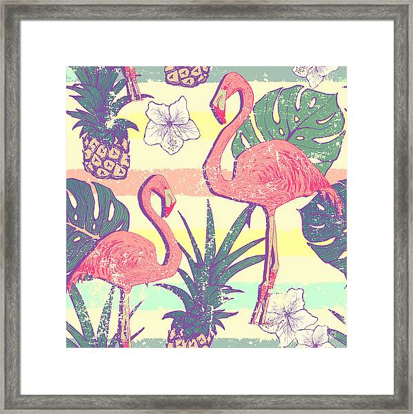 Seamless Pattern With Flamingo Birds Framed Print by Julia blnk