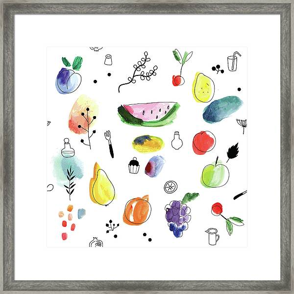 Seamless Pattern With Fruits, Berries Framed Print
