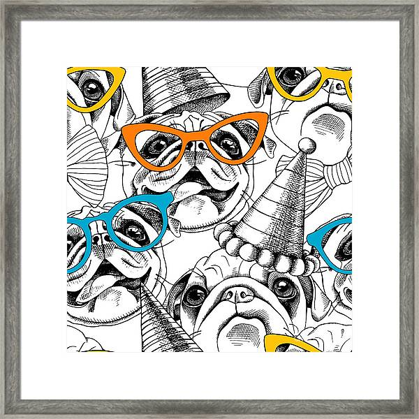 Seamless Pattern With Image Of A Pug In Framed Print