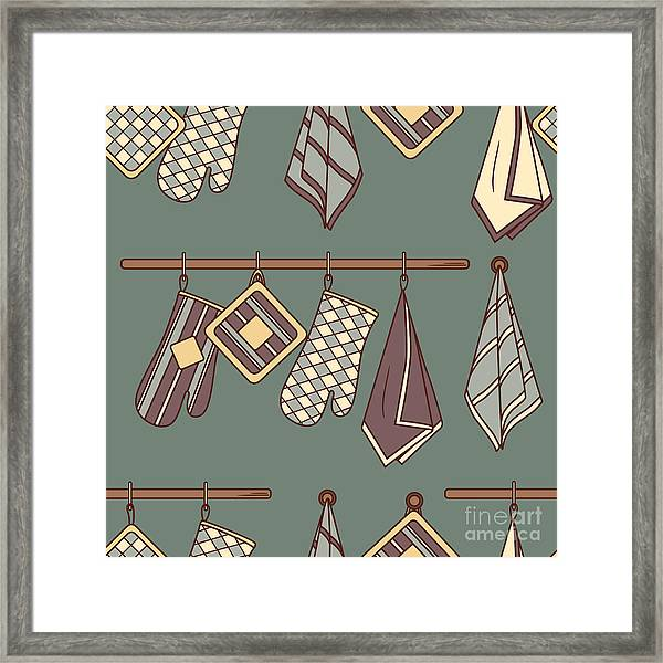 Seamless Pattern With Kitchen Textiles Framed Print by Talirina
