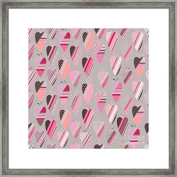 Seamless Pattern With  Vintage Tilda Framed Print