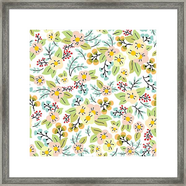 Seamless Pattern With Yellow And Pink Framed Print
