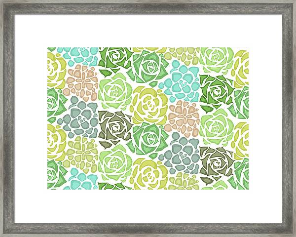 Seamless Texture With Flat Succulents Framed Print