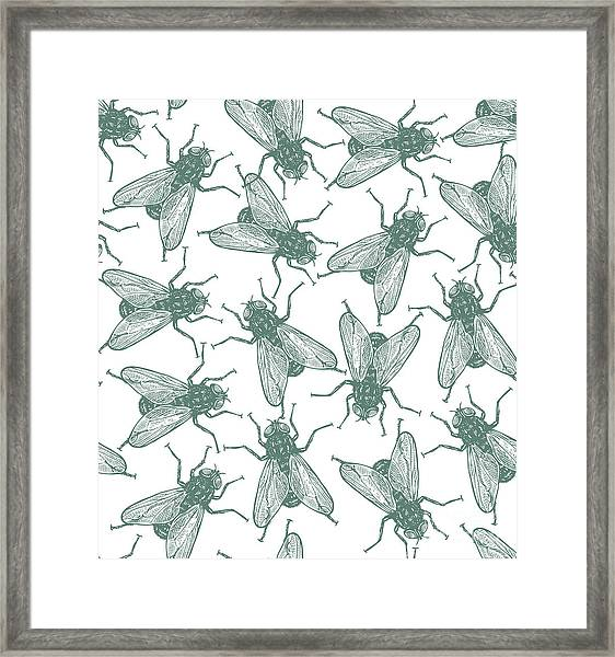 Seamless Vector Flies Pattern In Framed Print by Lestyan