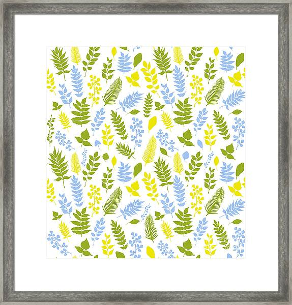 Seamless Vector Pattern With Blue Framed Print