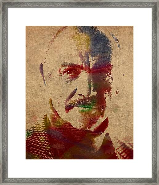 Sean Connery Actor Watercolor Portrait On Worn Distressed Canvas Framed Print