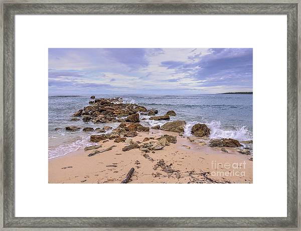 Seascape With Rocks Framed Print