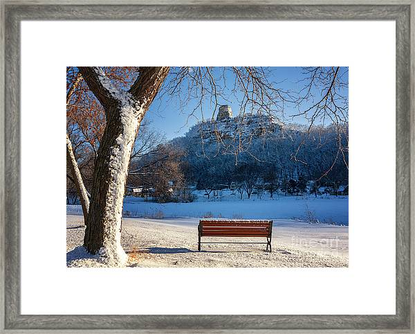Seat With A View In Winter Framed Print by Kari Yearous