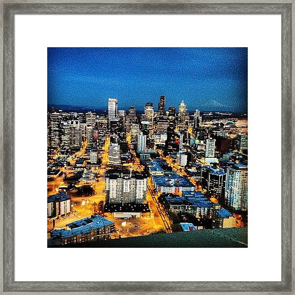 Seattle At Night From The Top Of The Framed Print