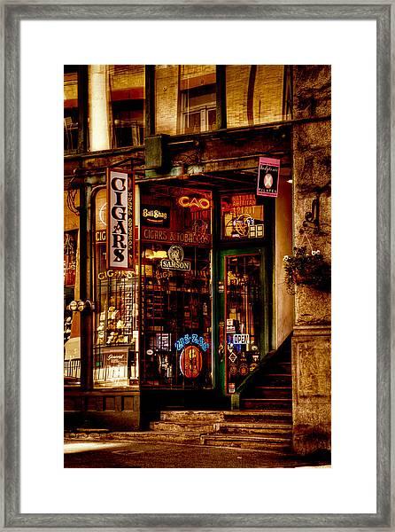 Seattle Cigar Shop Framed Print